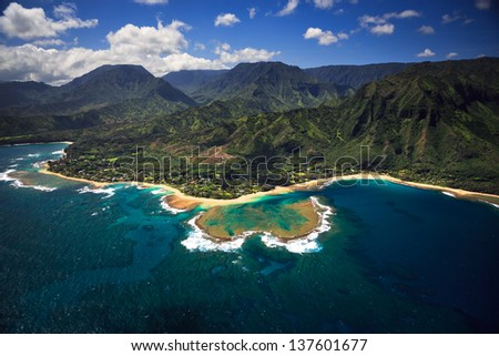 Aerial View of Tunnels Beach and reef system on the Hawaiian Island of Kauai - stock photo