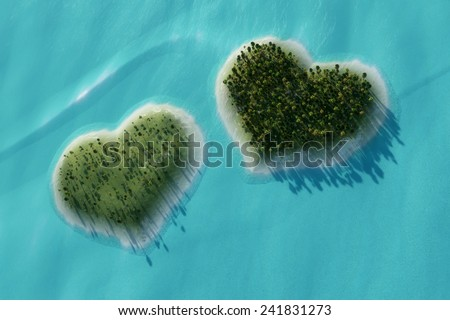 Aerial view of two islands in the shape of heart - stock photo