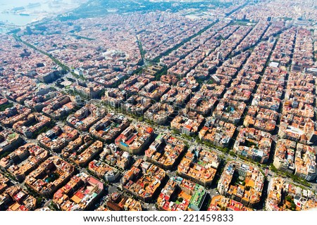 Aerial view of typical houses at Eixample residential district. Barcelona, Catalonia  - stock photo