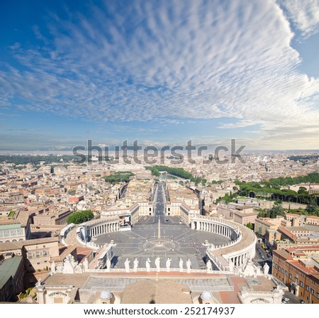 Aerial view of Vatican and Rome city on top of St. Peter's Basilica  - stock photo