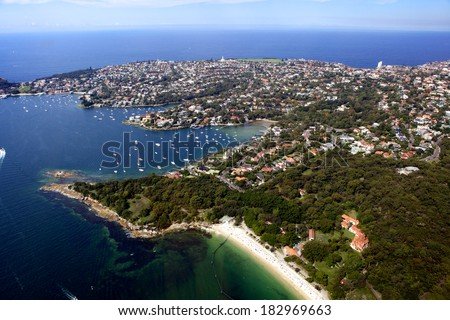 Aerial view of Vaucluse with Shark bay in the foreground, Australia.  - stock photo