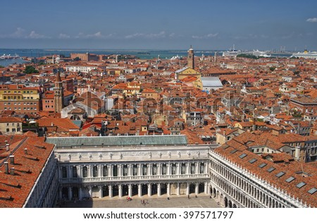Aerial View of Venice from the Campanile di San Marco with San Marco square and building roofs, Veneto, Italy - stock photo