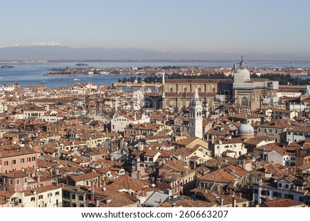 Aerial View of Venice from the Campanile, Italy - stock photo
