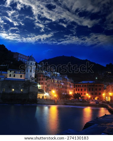 Aerial view of Vernazza - small italian town in the province of La Spezia, Liguria, northwestern Italy - stock photo