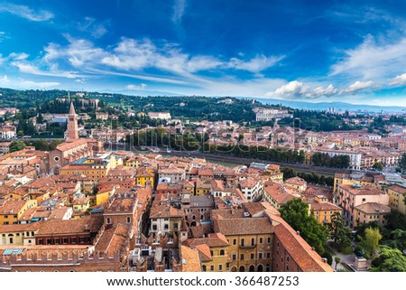 Aerial view of Verona in a summer day, Italy - stock photo