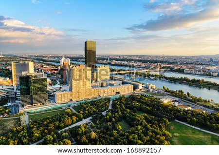 Aerial view of Vienna, Austria in evening light - stock photo