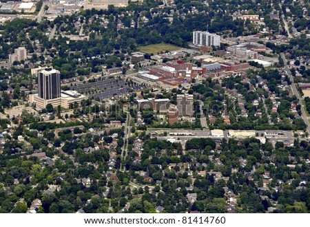 aerial view of Waterloo Grand River Hospital area in  Kitchener-Waterloo, Ontario Canada - stock photo