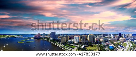 Aerial view of West Palm Beach, Florida. - stock photo