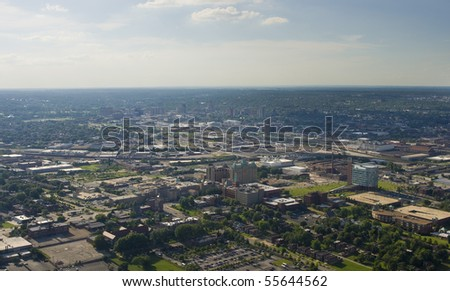Aerial view of west St. louis city - stock photo