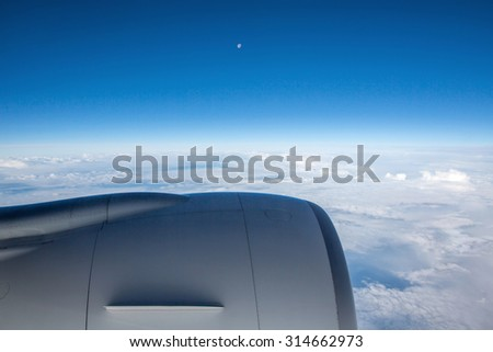 Aerial view of white clouds over - stock photo