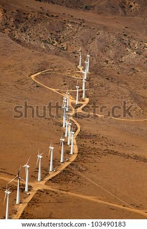 Aerial View of Wind Tubrine Farm in California - stock photo