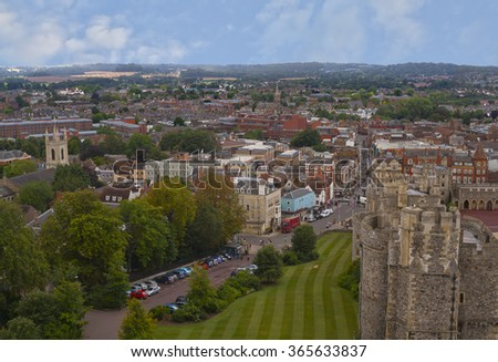 Aerial view of Windsor, Berkshire, England from the castle - stock photo