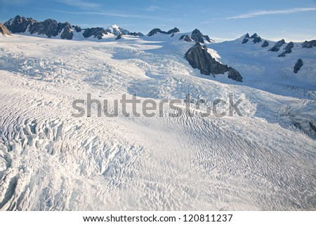 Aerial view of winter landscape at Mountain Cook National Park New Zealand from Helicopter - stock photo