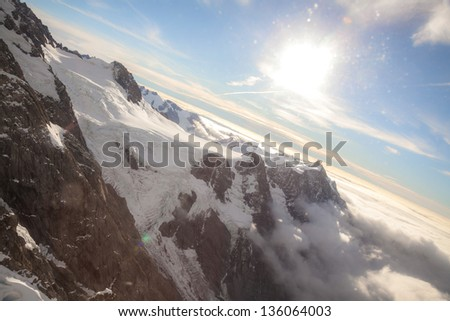 Aerial view of Winter landscape Mountain Cook New Zealand - stock photo