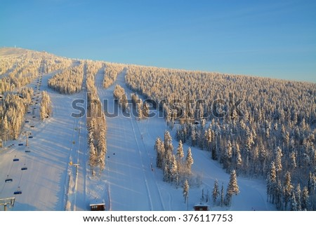Aerial view of winter sports area of Levi (Kittilae) in Finland - stock photo