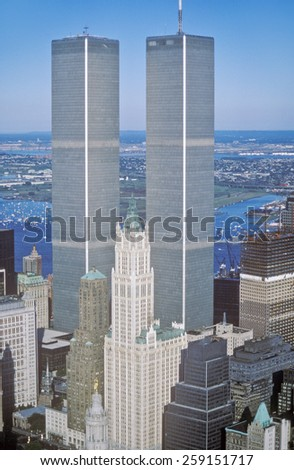 Aerial view of World Trade Towers, New York City, NY - stock photo