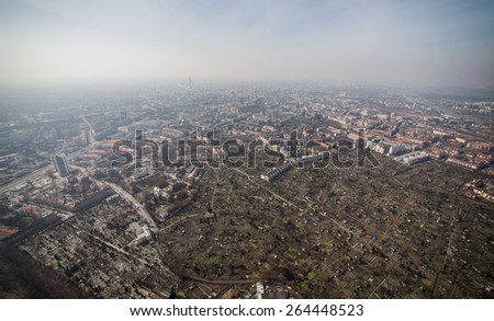 aerial view of Wroclaw city in Poland - stock photo