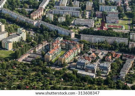Aerial view of Wroclaw city in Poland. - stock photo