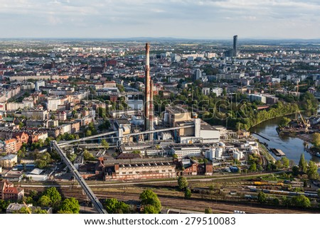 aerial view of wroclaw city suburbs in Poland - stock photo