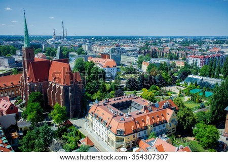 Aerial view of Wroclaw from tower of Cathedral of St. John the Baptist, Poland - stock photo