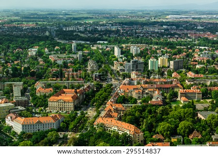 aerial view of Wroclaw town in Poland - stock photo
