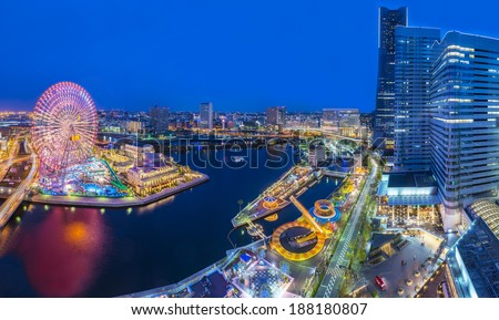 Aerial view of Yokohama city - stock photo