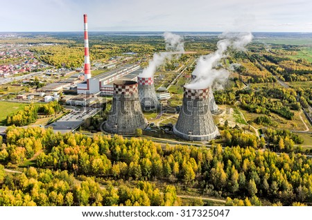 Aerial view on combined heat and power factory number 2. Tyumen. Russia - stock photo