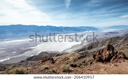 Aerial view on Death Valley from Dante's view - stock photo