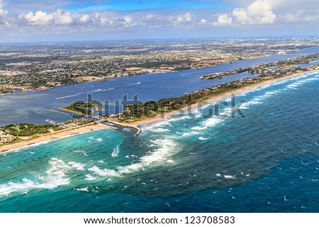 Aerial View on Florida Beach and waterway near Palm Beach - stock photo