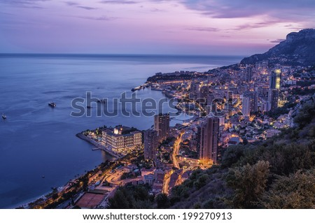 Aerial View on Fontvieille and Monaco Harbor - stock photo