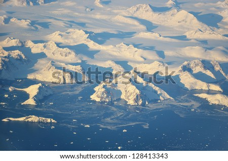 Aerial view on Greenland coast - stock photo