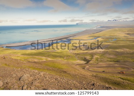 Aerial view on Heradssandur from route 917 - Iceland. In background Heradsfloi. - stock photo