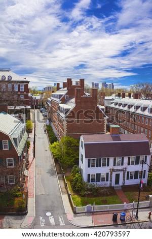 Aerial view on John F Kennedy Street in Harvard University Area in Cambridge, Massachusetts, USA. - stock photo