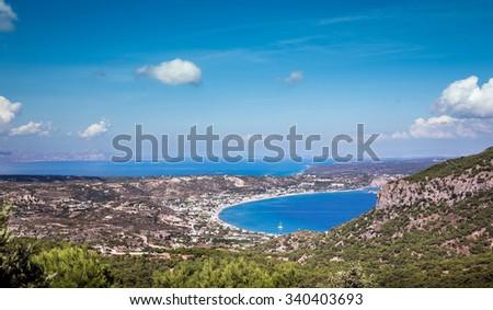 Aerial view on Kefalos village and coastline on Kos island, Greece - stock photo