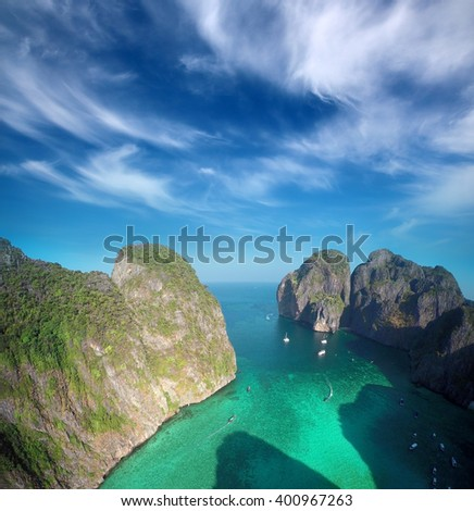 Aerial view on Maya bay, Phi Phi Leh island, Krabi, Thailand - stock photo
