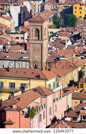 aerial view on old town from Asinelli tower in Bologna, Italy - stock photo