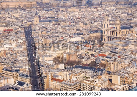Aerial View on Paris, France - stock photo