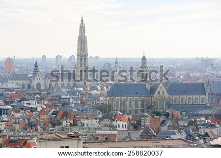Aerial view on the Cathedral of Our Lady  and the Church of Saint Paul in Antwerp, Belgium. - stock photo