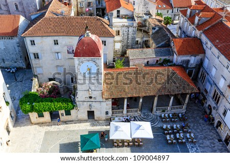 Aerial View on the Main Square of Trogir from Cathedral of Saint Lawrence, Croatia - stock photo