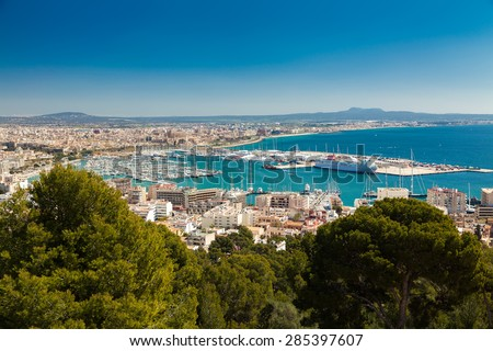 aerial view on the port with yachts and historical centre of Palma de Mallorca, Spain - stock photo