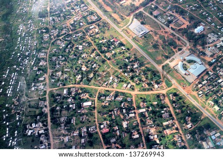 Aerial view on the suburbs of Hwange in Zimbabwe - stock photo