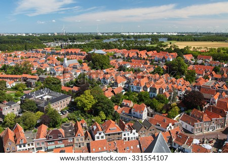 Aerial View on the Town of Brielle, also known as Den Briel, in South Holland, the Netherlands. - stock photo