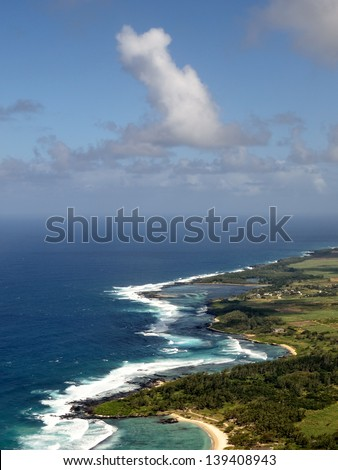 Aerial view on tropical island of Mauritius - stock photo
