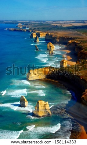 Aerial view on Twelve Apostles, Great Ocean Road, Australia. - stock photo