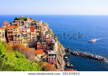 Aerial view over a Cinque Terre village on the coast of Italy - stock photo