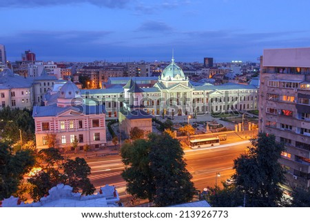 Aerial view over Bucharest skyline with focus on the historic Coltea Hospital complex. - stock photo