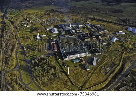 Aerial view over glass factory in Valmiera - stock photo