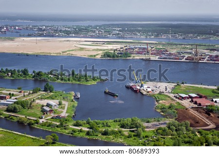 Aerial view over industrial port of Riga - stock photo