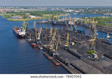 Aerial view over industrial port of Riga, Latvia - stock photo
