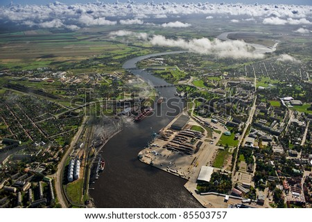 Aerial view over industrial port of Ventspils, Latvia - stock photo